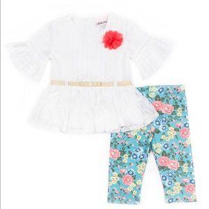 Little Lass Matching Sets - Little Lass Lace Top & Floral Capri Leggings